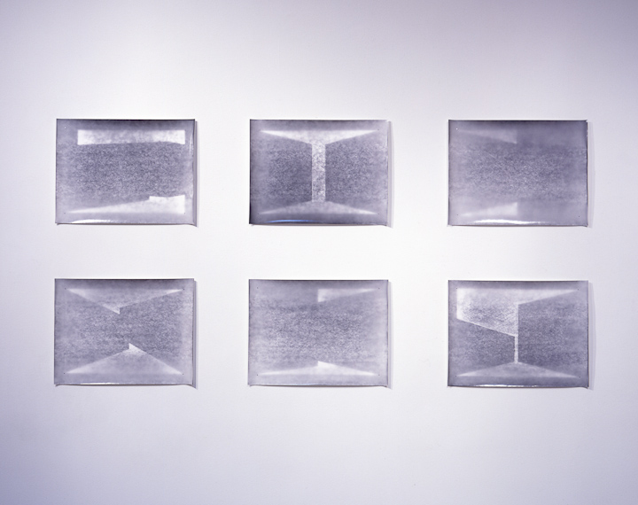 six untitled photograms from hand drawn negatives